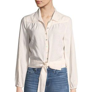 PAIGE Damaris Tie Front Stripe Button Down Top L